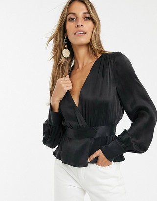 And other stories & satin wrap blouse in black