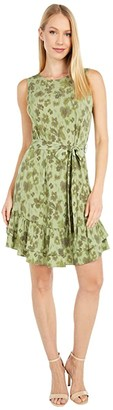 MICHAEL Michael Kors Mega Poppy Ruffle Dress (Light Sage) Women's Dress