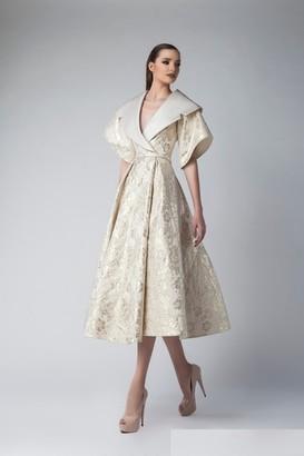 Divina by Edward Arsouni Short Sleeve Satin Midi Dress