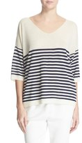 ATM Anthony Thomas Melillo Women's Stripe V-Neck Cashmere Sweater