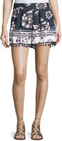 Band of Gypsies Floral-Print Pull-On Shorts W/Tassels, Navy/Ivory