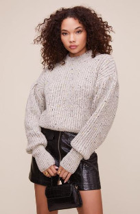 ASTR the Label The Regis Sweater In Grey Speckle - S