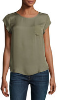 Joie Rancher Pocket Silk Top, Green