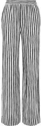 Michael Kors Striped Silk-crepe Wide-leg Pants - White