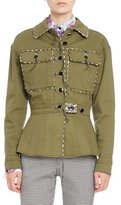 Altuzarra Feday Patch-Pocket Military Jacket, Olive Green