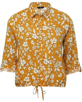 M&Co Petite floral drawstring shirt
