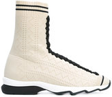 Fendi hi-top sneakers - women - Leather/Viscose/rubber - 37.5