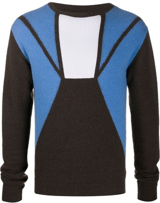 Rick Owens Crew Neck Panelled Jumper
