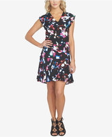 1 STATE 1.STATE Printed Cap-Sleeve Dress
