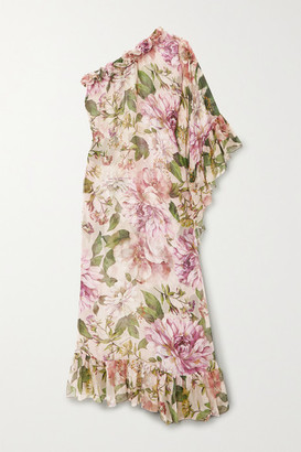 Dolce & Gabbana One-sleeve Ruffled Floral-print Silk-chiffon Maxi Dress - Pink