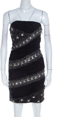 Roberto Cavalli Black Embellished Silk Ruched Strapless Dress S