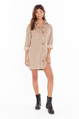 Nasty Gal Womens Button Down Corduroy Shirt with Balloon Sleeves - Stone