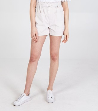 New Look Pink Vanilla Belted High Waist Shorts