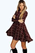 Boohoo Nadia Brushed Knit Floral Swing Dress