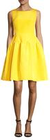 Oscar de la Renta Silk Sleeveless Boatneck A-Line Dress