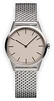 Uniform Wares C35 Polished Milanese Mesh Unisex Quartz Watch with Beige Dial Analogue Display And Silver Stainless Steel Bracelet