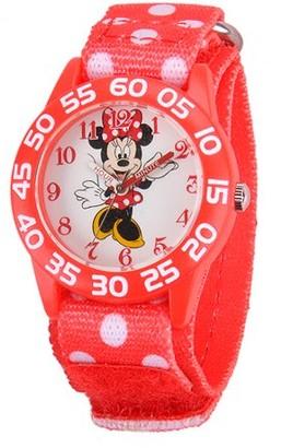 Disney Girls' Plastic Case Watch, Printed Stretch Nylon Strap