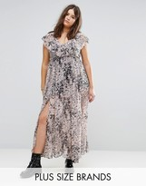 Religion Plus Ruffle Hem Maxi Dress In Allover Animal Print