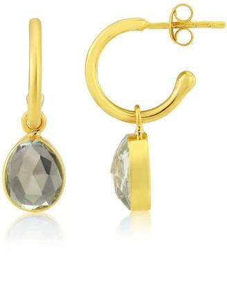 Manhattan Gold Auree Jewellery & Green Amethyst Interchangeable Gemstone Hoop Earrings
