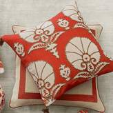 Williams-Sonoma Williams Sonoma Ottoman Floral Velvet Applique Pillow Cover, Coral
