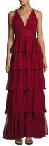 Alice + Olivia Sleeveless Tiered Silk Chiffon Gown, Bordeaux