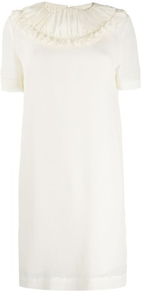 Victoria Victoria Beckham Ruffle-Trimmed Crinkled Dress