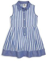 Milly Minis Girl's Chambray-Trim Striped Shirtdress