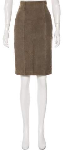 Saint Laurent Suede Pencil Skirt