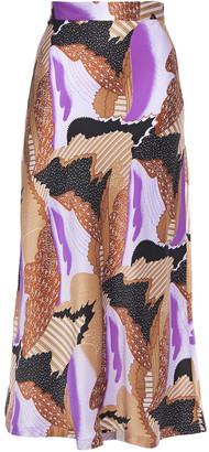 Equipment Printed Silk-twill Midi Skirt