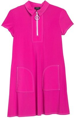 MSK Contrast Stitch Zip Front Short Sleeve Dress