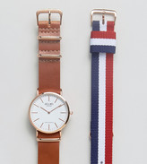 Reclaimed Vintage Inspired Leather & Canvas Interchangeable Strap Watch Gift Set Exclusive To Asos