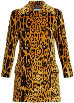 Prada Double-breasted leopard-print corduroy coat