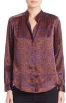 L'Agence Printed Long Sleeve Silk Shirt