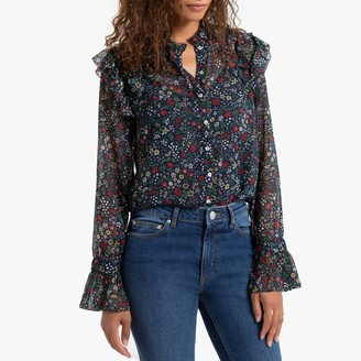 Pepe Jeans Matilda Ruffled Floral Blouse with High-Neck