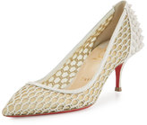 Christian Louboutin Guni Mesh Spike 55mm Red Sole Pump, Beige/White Ivory