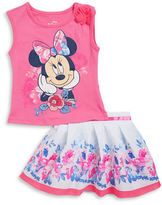 Nannette Girls 2-6x Two-Piece Disney Minnie Mouse Top and Floral Skirt Set