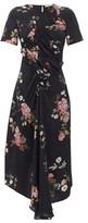 Preen Line Shae Gathered Floral-print Crepe De Chine Dress - Womens - Black Pink