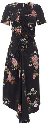Preen Line Shae Gathered Floral-print Crepe De Chine Dress - Black Pink