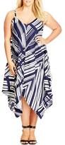 City Chic Plus Size Women's 'Riviera' Handkerchief Hem Sundress