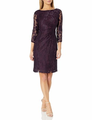 Tahari ASL Women's Long Sleeve Lace Dress with Side Rouching