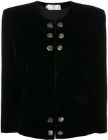 Valentino Pre Owned 1980's collarless fitted jacket