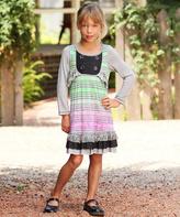 Me & Ko Gray Watercolor Stripe Ruffle Bib Dress - Toddler