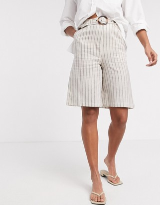 NATIVE YOUTH relaxed tailored shorts in stripe co-ord