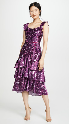 Marchesa Sleeveless Printed Charmeuse Cocktail Dress
