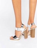 Head Over Heels By Dune Ilana Silver Block Heeled Sandals
