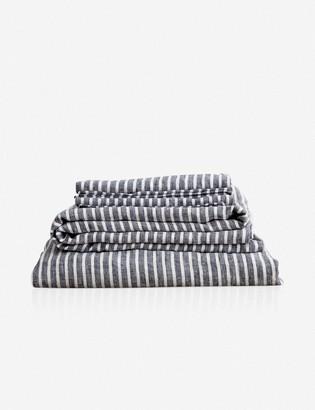 Lulu & Georgia Cultiver Linen Bedding, Indigo Stripe Sheet Set