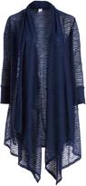 Glam Navy Blue Semisheer Stripe Open Cardigan - Plus