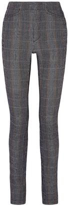 Chloé Prince Of Wales Checked Stretch-wool Blend Slim-leg Pants