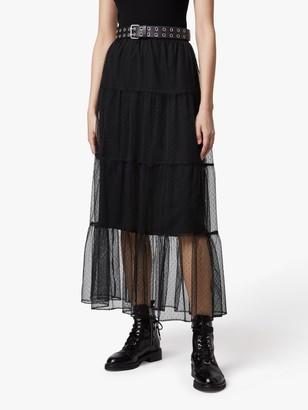 AllSaints Lali Tiered Maxi Skirt, Black