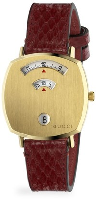 Gucci Grip Yellow Gold PVD & Cerise Python Strap Watch